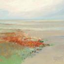 אבסטרקט שמים  שדה כתום תכלת כחול נחל נהר ים ציפור רגוע מנוחת ציפורים
