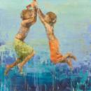 ילדים, בגד ים, משחק, מתנדנדים, כיף, כחול, כתום, קרם, קיץ נדנדה על חבל